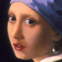 "Girl with Pearl Earring (detail from ""After the Music Lesson"") after Johannes Vermeer by Anthony D'Elia"